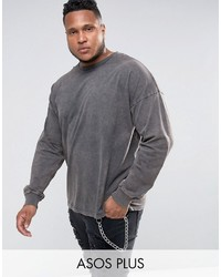T-shirt à manche longue gris foncé Asos