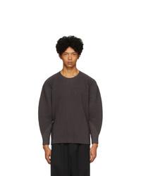 T-shirt à manche longue gris foncé Homme Plissé Issey Miyake