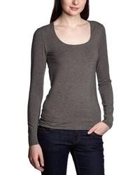 T-shirt à manche longue gris foncé Selected Femme