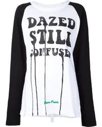 T-shirt à manche longue imprimé blanc et noir
