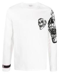 T-shirt à manche longue imprimé blanc et noir Alexander McQueen