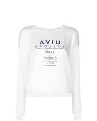 T-shirt à manche longue imprimé blanc et noir Aviu