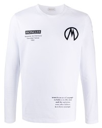 T-shirt à manche longue imprimé blanc et noir Moncler