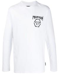 T-shirt à manche longue imprimé blanc et noir Philipp Plein