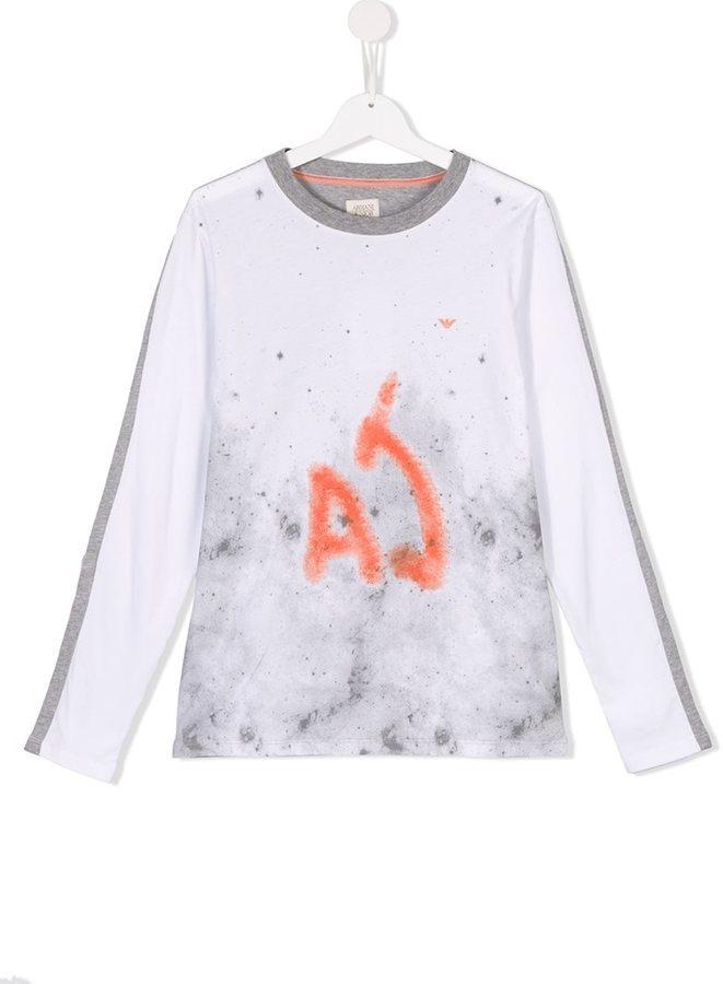 T-shirt à manche longue imprimé blanc Armani Junior