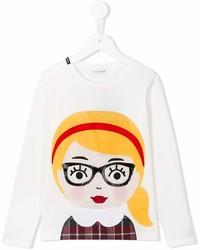 T-shirt à manche longue imprimé blanc Dolce & Gabbana
