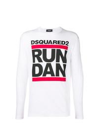 T-shirt à manche longue imprimé blanc DSQUARED2
