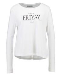T-shirt à manche longue imprimé blanc Even&Odd
