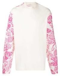 T-shirt à manche longue imprimé blanc Marni