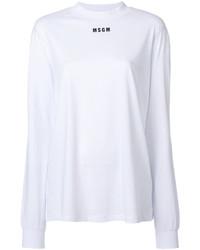 T-shirt à manche longue imprimé blanc MSGM
