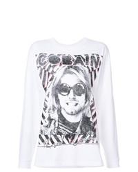 T-shirt à manche longue imprimé blanc R13