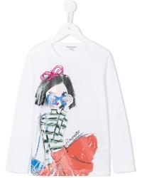 T-shirt à manche longue imprimé blanc Simonetta