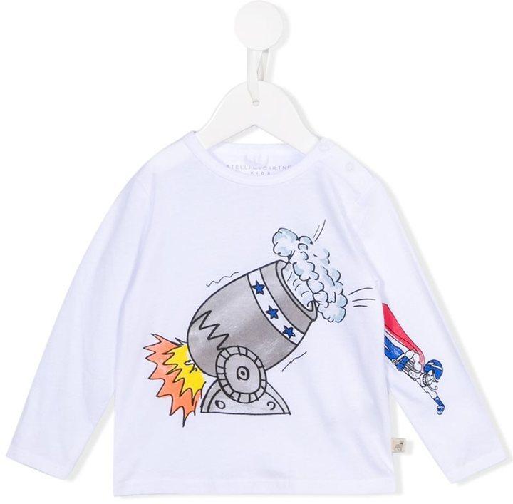 T-shirt à manche longue imprimé blanc Stella McCartney