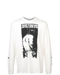 T-shirt à manche longue imprimé blanc Yang Li