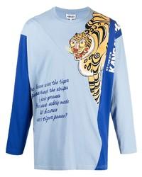 T-shirt à manche longue imprimé bleu clair Kenzo