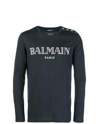 T-shirt à manche longue imprimé bleu marine et blanc Balmain