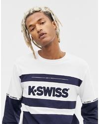 T-shirt à manche longue imprimé bleu marine et blanc K-Swiss