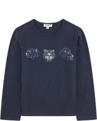 T-shirt à manche longue imprimé bleu marine
