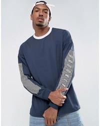 T-shirt à manche longue imprimé bleu marine Asos