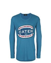 T-shirt à manche longue imprimé bleu DSQUARED2
