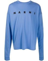 T-shirt à manche longue imprimé bleu Marni