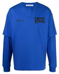 T-shirt à manche longue imprimé bleu Off-White