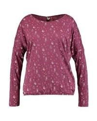 T-shirt à manche longue imprimé bordeaux Ragwear Plus