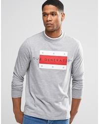 T-shirt à manche longue imprimé gris