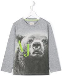 T-shirt à manche longue imprimé gris Armani Junior