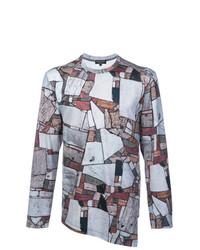 T-shirt à manche longue imprimé gris Comme Des Garcons Homme Plus