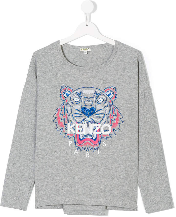 T-shirt à manche longue imprimé gris Kenzo