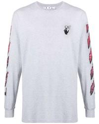 T-shirt à manche longue imprimé gris Off-White