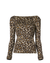 T-shirt à manche longue imprimé léopard marron