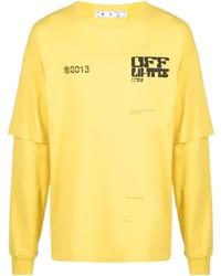 T-shirt à manche longue imprimé moutarde Off-White