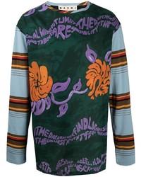T-shirt à manche longue imprimé multicolore Marni