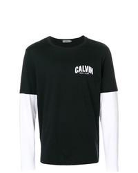 T-shirt à manche longue imprimé noir et blanc