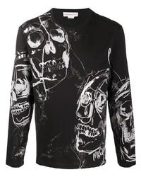 T-shirt à manche longue imprimé noir et blanc Alexander McQueen