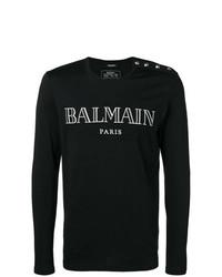 T-shirt à manche longue imprimé noir et blanc Balmain