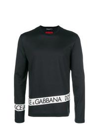T-shirt à manche longue imprimé noir et blanc Dolce & Gabbana