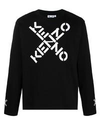 T-shirt à manche longue imprimé noir et blanc Kenzo