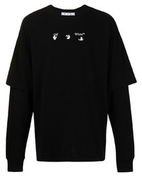 T-shirt à manche longue imprimé noir et blanc Off-White