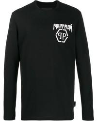T-shirt à manche longue imprimé noir et blanc Philipp Plein