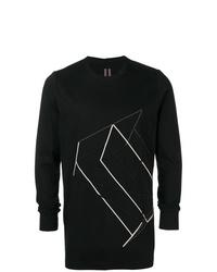 T-shirt à manche longue imprimé noir et blanc Rick Owens