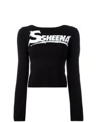 T-shirt à manche longue imprimé noir et blanc Ssheena