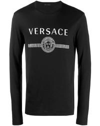 T-shirt à manche longue imprimé noir et blanc Versace