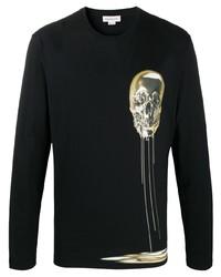 T-shirt à manche longue imprimé noir Alexander McQueen