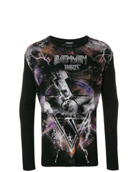 T-shirt à manche longue imprimé noir Balmain