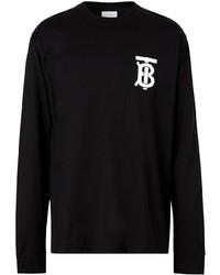 T-shirt à manche longue imprimé noir Burberry