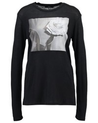 T-shirt à manche longue imprimé noir Diesel