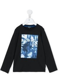 T-shirt à manche longue imprimé noir DKNY